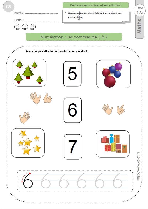 GS: EXERCICES MATHEMATIQUES Les nombres 5, 6, 7 en ...