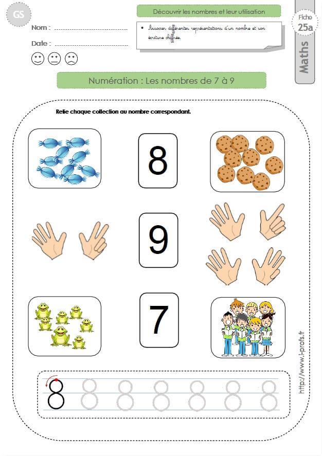 Exceptionnel GS: EXERCICES MATHEMATIQUES Les nombres 7, 8, 9 en maternelle  CU09