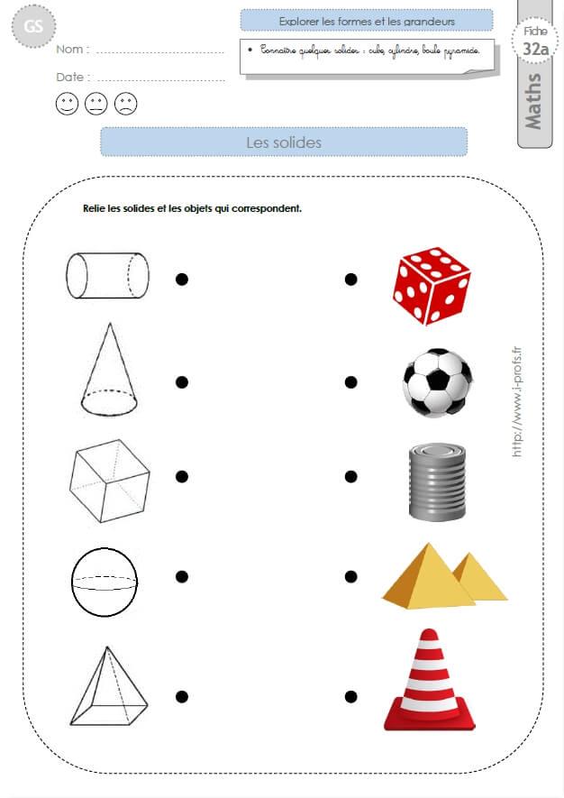 Gs Exercices Mathematiques Les Solides En Maternelle Grande Section